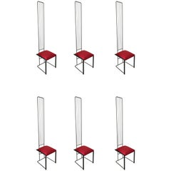 Set of Six Post Modern High Back Dining Chairs