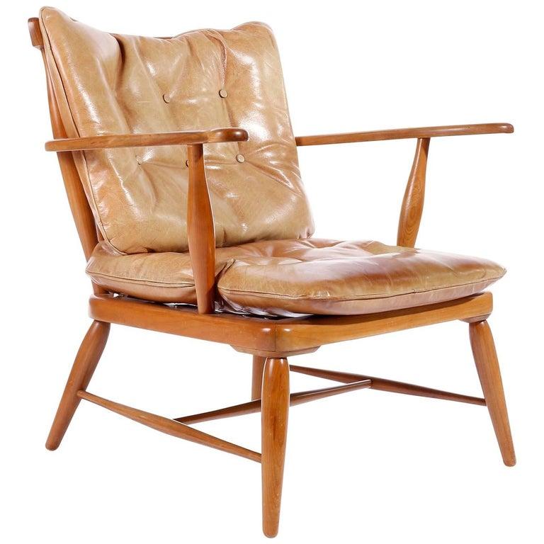 Armchair Lounge Chair by Anna-Lülja Praun, Wood Patinated Cognac Leather, 1950s