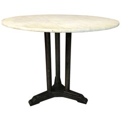 Art Deco Round Marble Cast Iron Dining Table