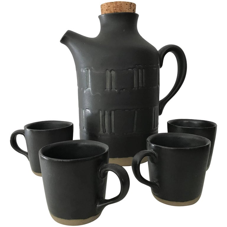 Jane & Gordon Martz for Marshall Studios Ceramic Serving Set; Pitcher and Cups
