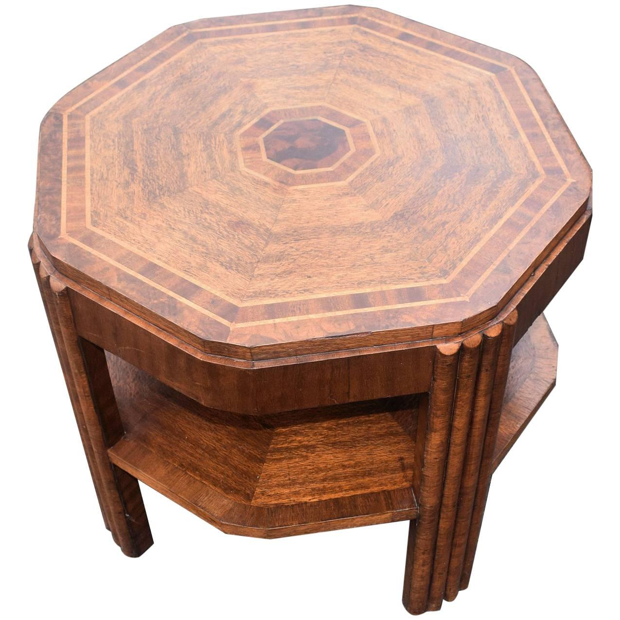 English Art Deco Walnut and Oak Book Table