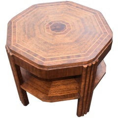 English Art Deco Walnut and Oak Book Table