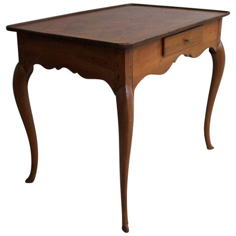 18th Century Swiss Walnut Writing Table with Parquetry Top
