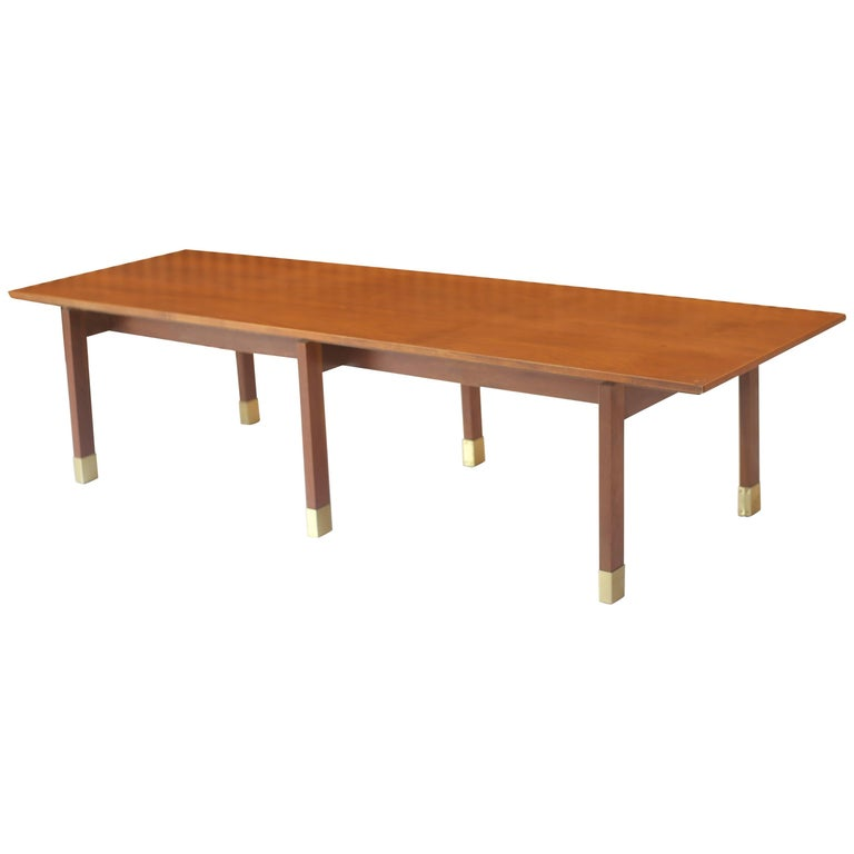 Harvey Probber Style Walnut and Brass Bench Coffee Table