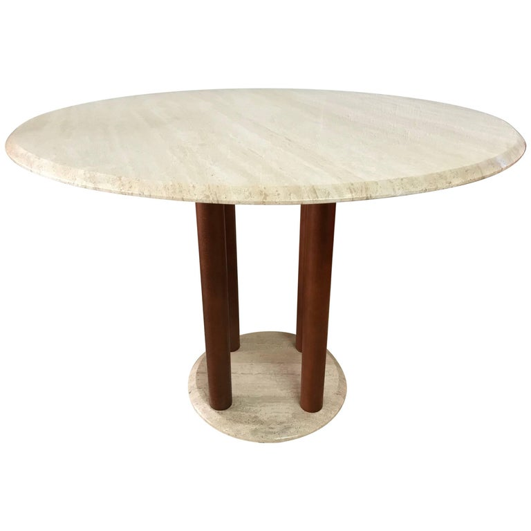 Wood Dining Table For Sale: Postmodern Travertine And Wood Dining Table For Sale At