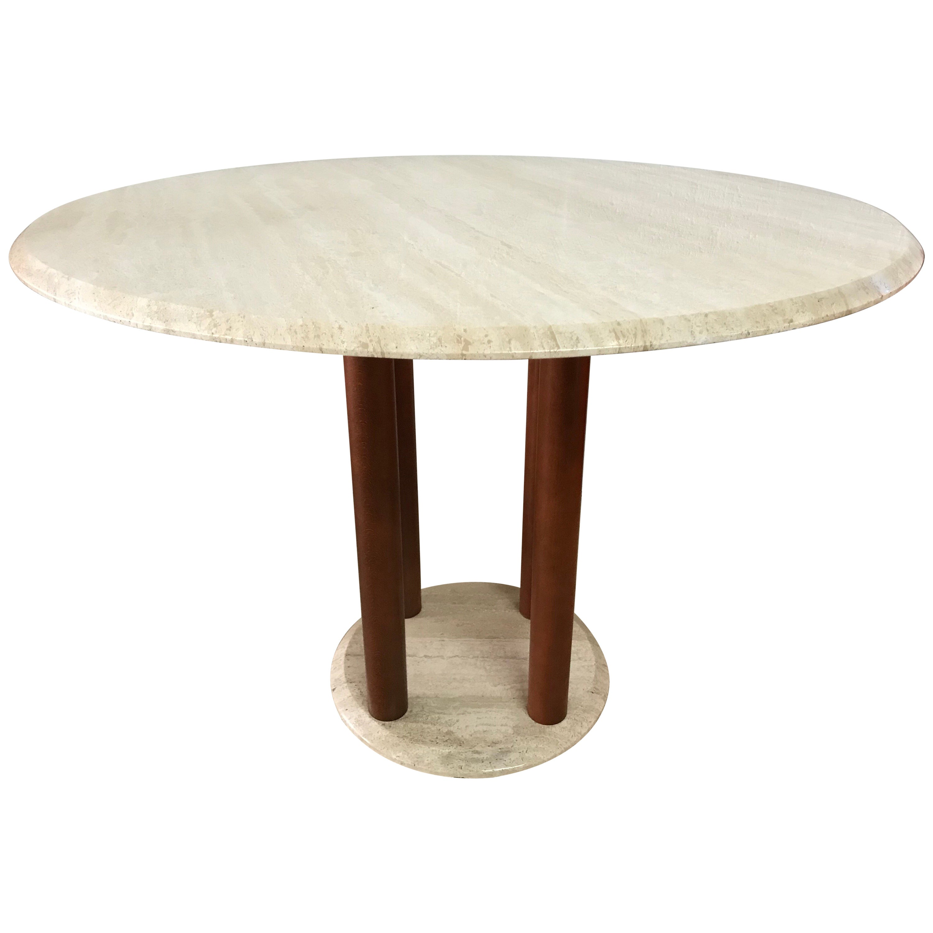Post Modern Italian Travertine and Wood Dining Table, Italy, 1980s