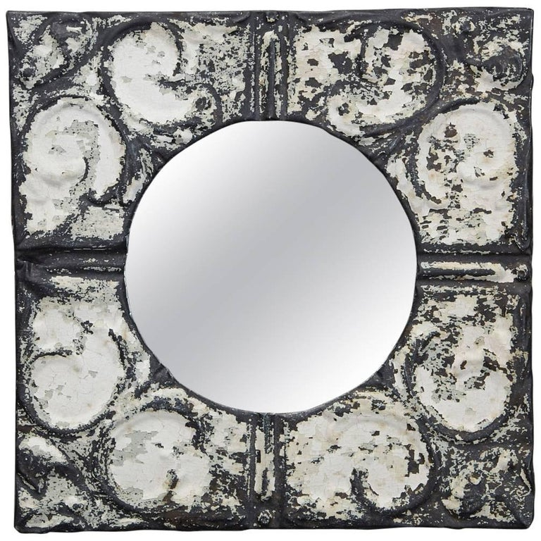 Industrial Square Tin Ceiling Tile Mirror For Sale