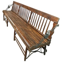 Long Antique Folding Oak and Cast Iron Gym Bench