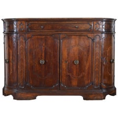 Italian Three-Drawer, Four-Door Walnut and Inlaid Credenza