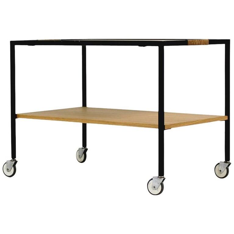 Minimalist 1950s Oak Serving Cart Bar Cart Tea Trolley Herbert Hirche Attributed