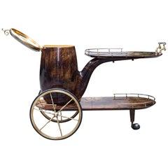 Aldo Pipe Bar Cart Brown Goatskin