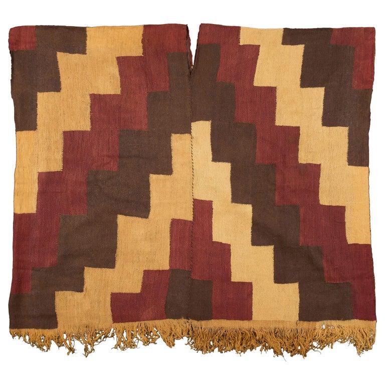 Pre-Columbian Nazca Stepped Textile Poncho, Nazca Peru, 200-400 AD For Sale