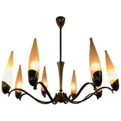 Mid-Century Modern Stilnovo Eight Light brass and Glass Chandelier, Italy, 1960