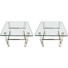 Pair of Mid-Century Modern Glass Lucite and Chrome End Tables, 1970s