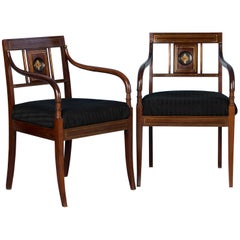 Pair of Antique Swedish Mahogany Armchairs