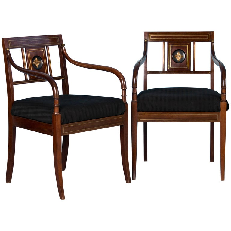 Pair of Antique Swedish Mahogany Armchairs For Sale