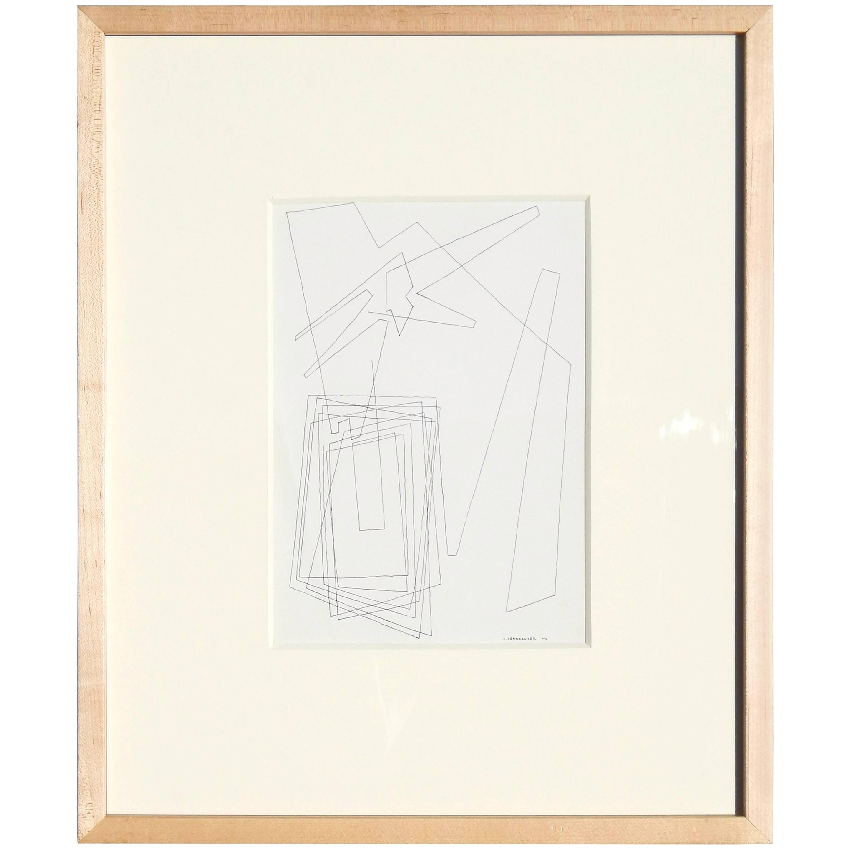 John Sennhauser Geometric Abstract Pen and Ink Drawing, 1944