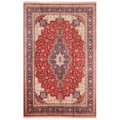 Large Floral Vintage Persian Silk Qum Rug