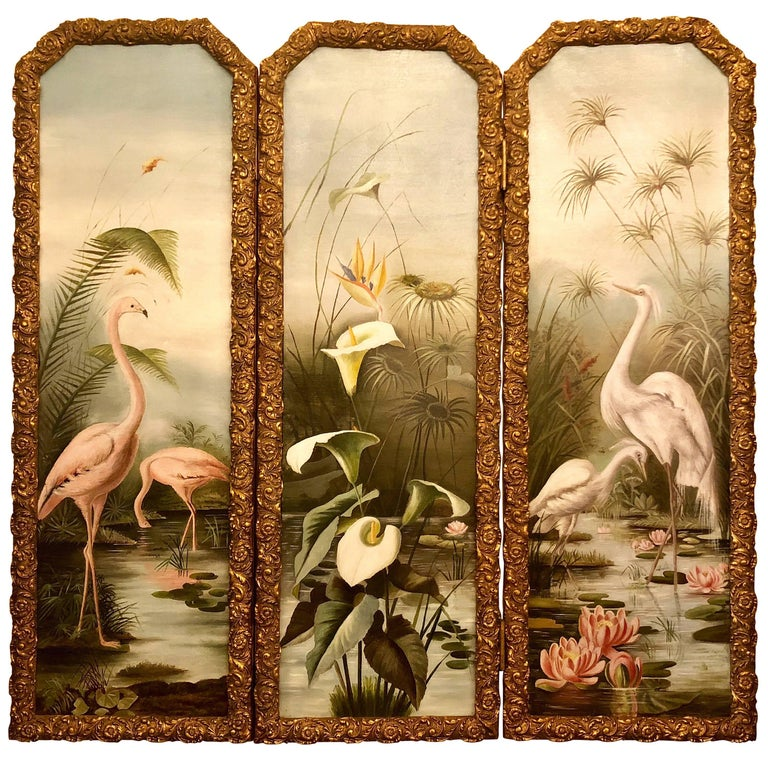Antique American Three-Piece Hand-Painted Screen on Canvas, circa 1920