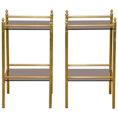 Pair of Midcentury Brass and Glass Side Tables