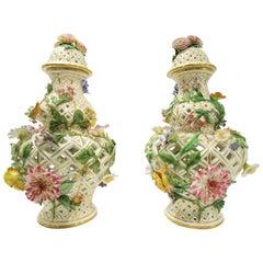 Pair of Meissen Flower Encrusted Covered Vases