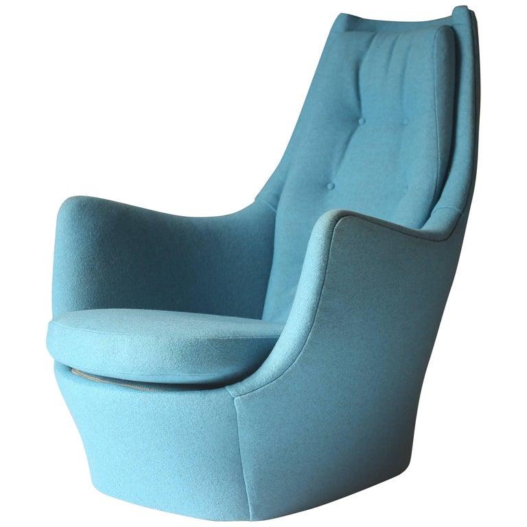 Milo Baughman Sculptural Lounge Chair in Blue Divina Melange Wool