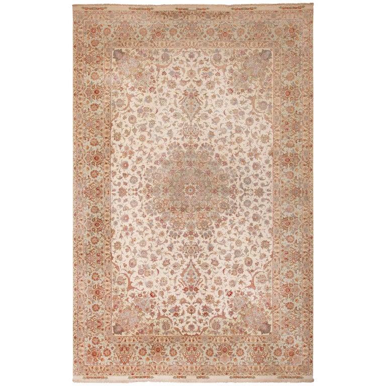 Silk and Wool Large Vintage Tabriz Persian Rug