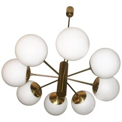 Italian Large Brass and Glass Chandelier with Eight Radiating Arms 1970