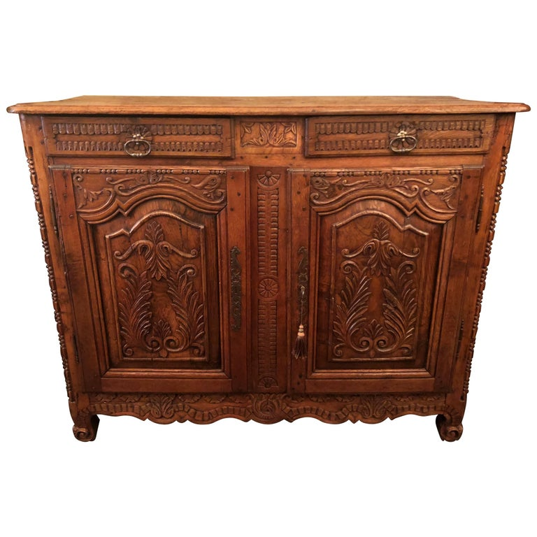 "Antique French Carved Walnut ""Brittany"" Designed Buffet, circa 1830"