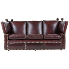 Grand Neoclassical Style Comfortable Three-Seat Leather Sofa