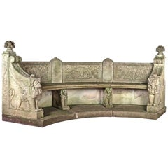 Early 20th Century Neoclassical Cast Stone Winged Lion Form Garden Bench