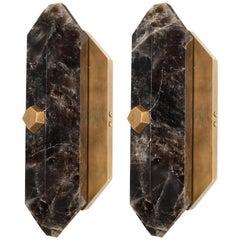 Pair of Diamond Form Dark Rock Crystal Quartz Sconces
