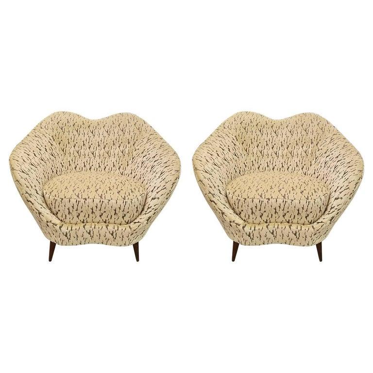 Pair of Federico Munari Italian Midcentury Ivory & Charcoal Velvet Lounge Chairs
