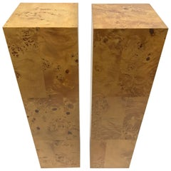 Milo Baughman Pair of Burl Wood Pedestals
