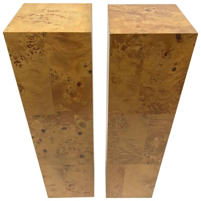 Milo Baughman Pair of Burl Wood Pedestals