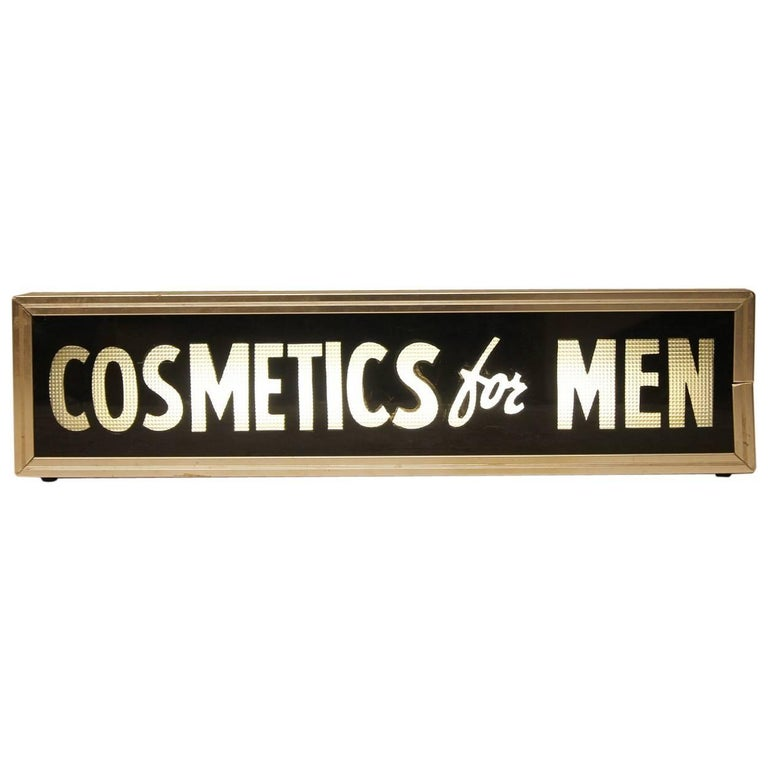 "1950s Reverse Glass Barber Shop Sign ""Cosmetics for Men"""
