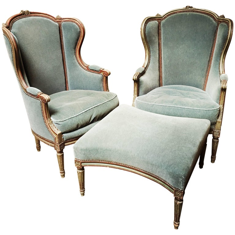 French Louis XVI Style Duchesse Brisee-Pair of Bergeres with Ottoman