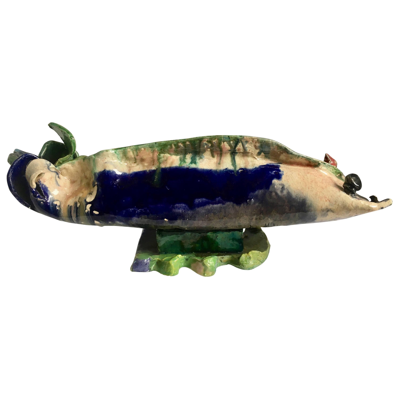 Folk Art Handmade Pottery Sculpture of a Fish