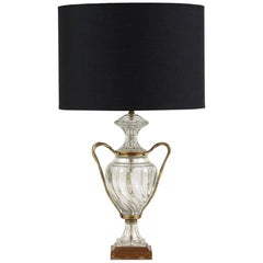 Regency-Style Glass and Brass Table Lamp