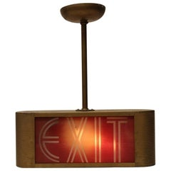 Art Deco Theater Light Up Glass Exit Sign