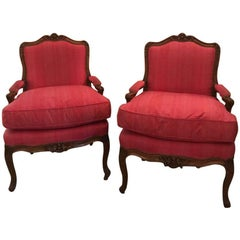 Pair of Louis XV Beechwood Fauteuils, Stamped Leduc, Estate of Greta Garbo