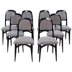 Set of Eight Italian Modernist Black Frame Dining Chairs