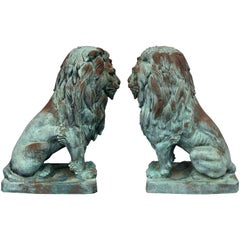 Monumental Bronze Lion Statues After A. Barye