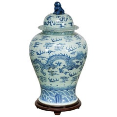 19th Century Chinese Blue and White Porcelain Ginger Jar