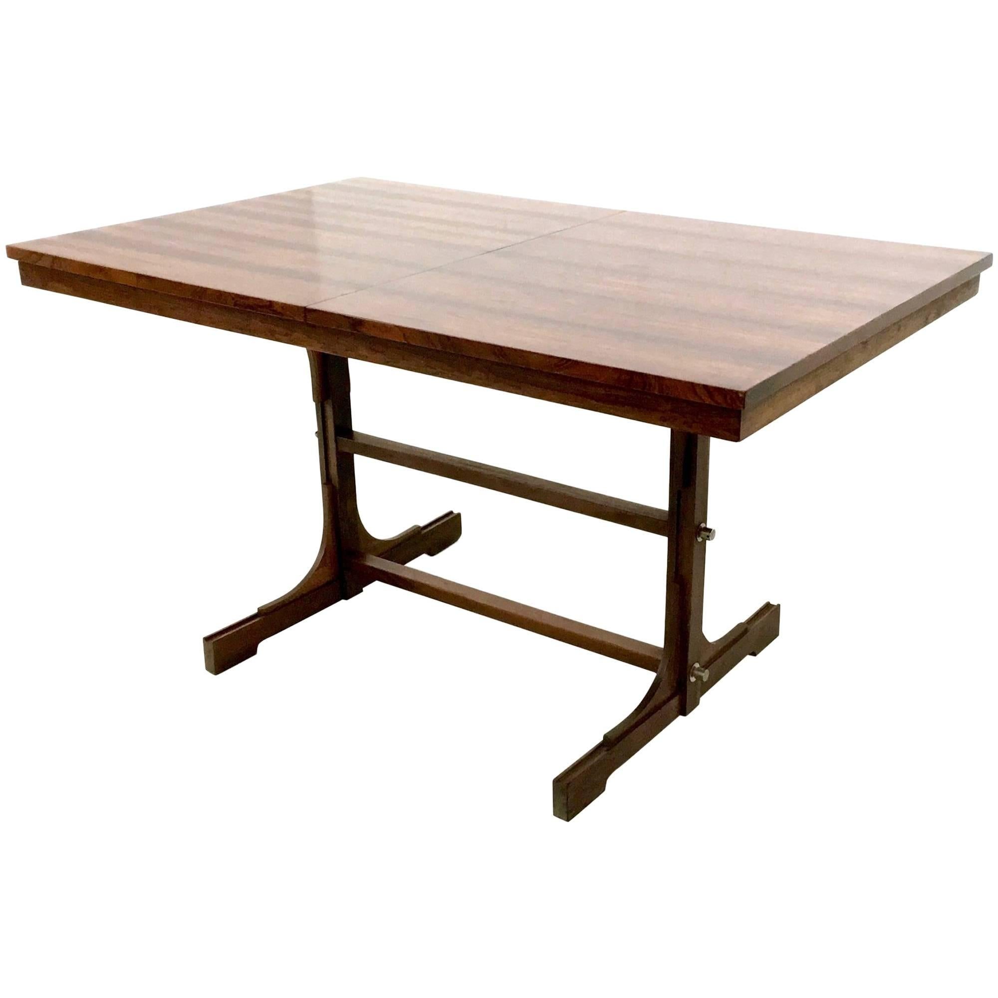 Midcentury Wooden Extendible Dining Table, Italy, 1960s