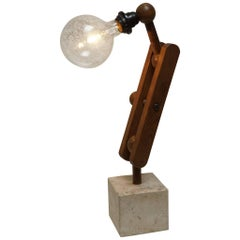 French Wooden Table Lamp