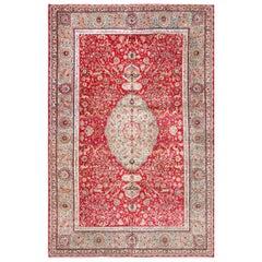 Animal Motif Silk and Wool Large Vintage Tabriz Persian Rug