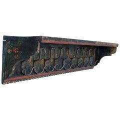 Antique Hungarian Folk Art Painted Wall Rack