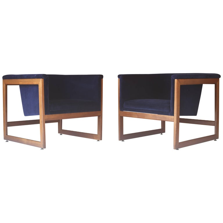 Pair of Milo Baughman Cube Lounge Chairs in Walnut and Deep Blue Velvet