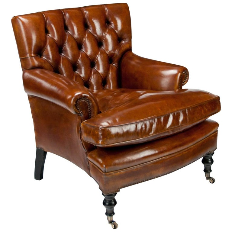 Leather Upholstered Buttoned Back Armchair